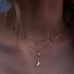Boho star & moon jewelry necklace